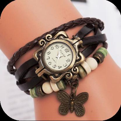 Винтажные часы - коричневые