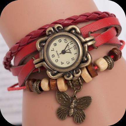Винтажные часы - красные