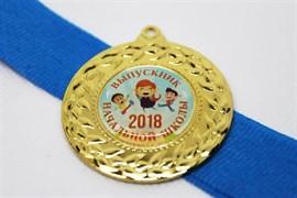 Медаль выпускника начальной школы с синей лентой